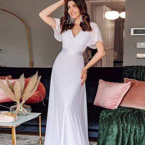 Ever-Pretty Women's Short Sleeve V-Neck Long White Wedding Dress 09890